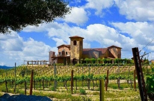 Tuscan architecture inspired house on a hill surrounded by vineyards - Robert Renzoni Vineyards - Best Wineries in Temecula