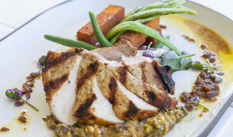Pork dish at Brix Restaurant & Gardens in Napa Valley, CA