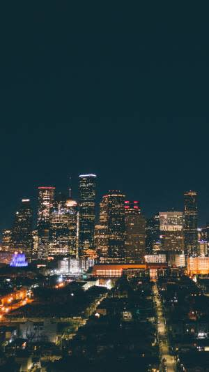 Night time view of the Houston skyline
