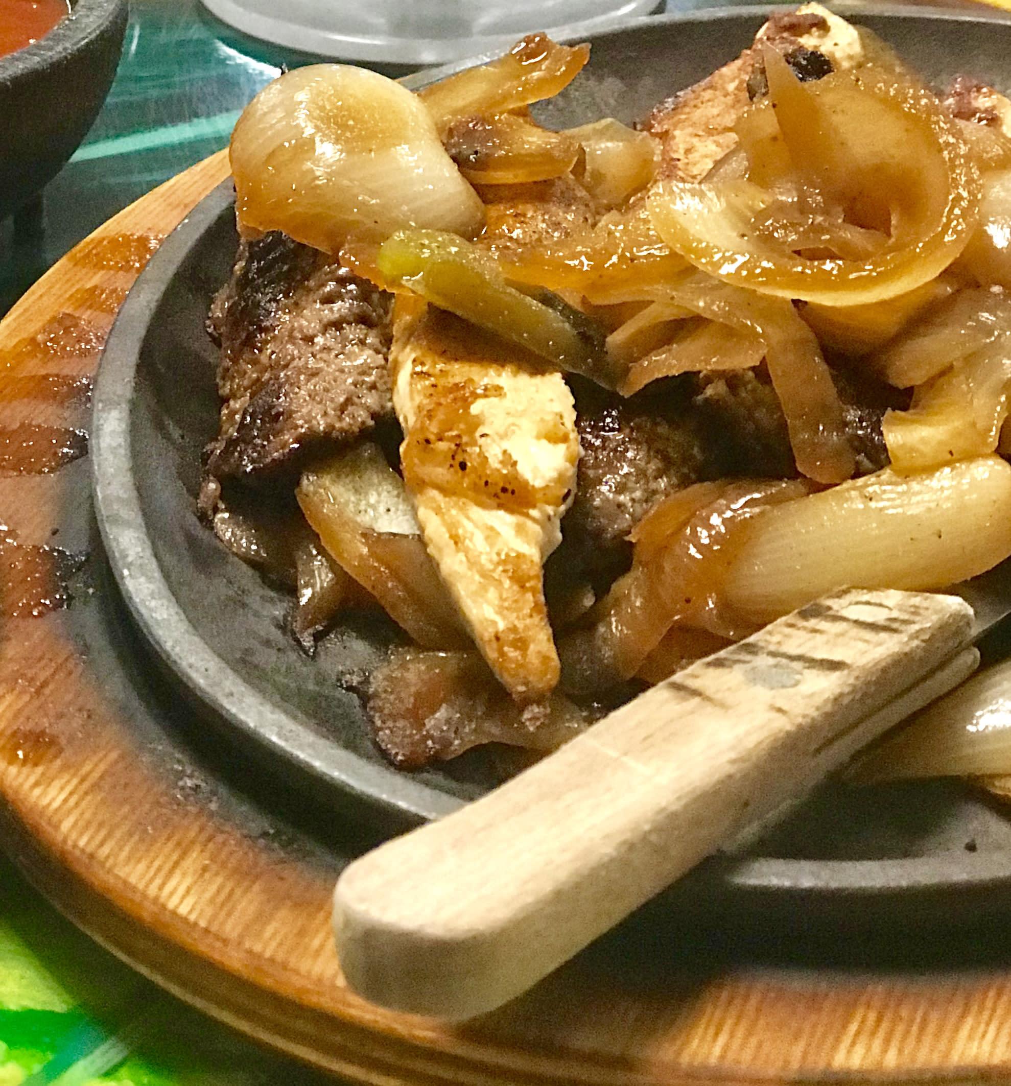sizzling beef fajitas from carmela's