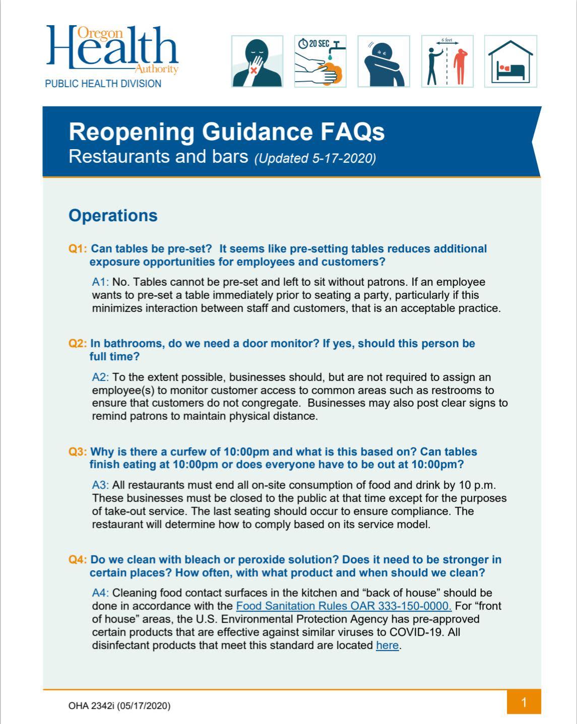 Restaurants & Bars Reopening FAQs