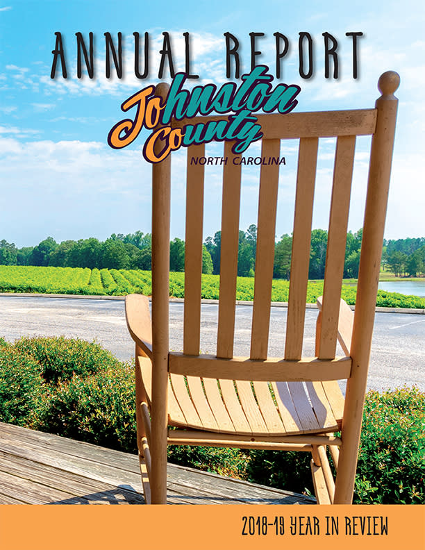 2019 JCVB Annual Report Cover photo of rocking chair at Gregory Vineyards, Benson NC.