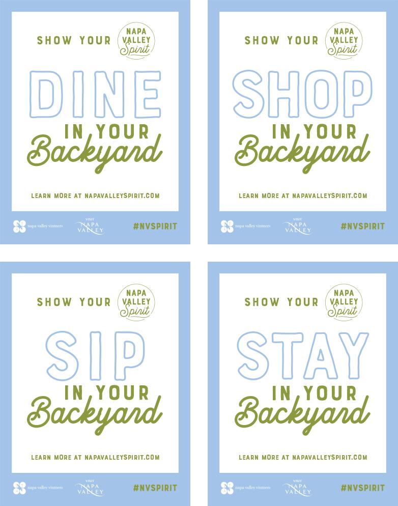 Dine Shop Sip Stay decals