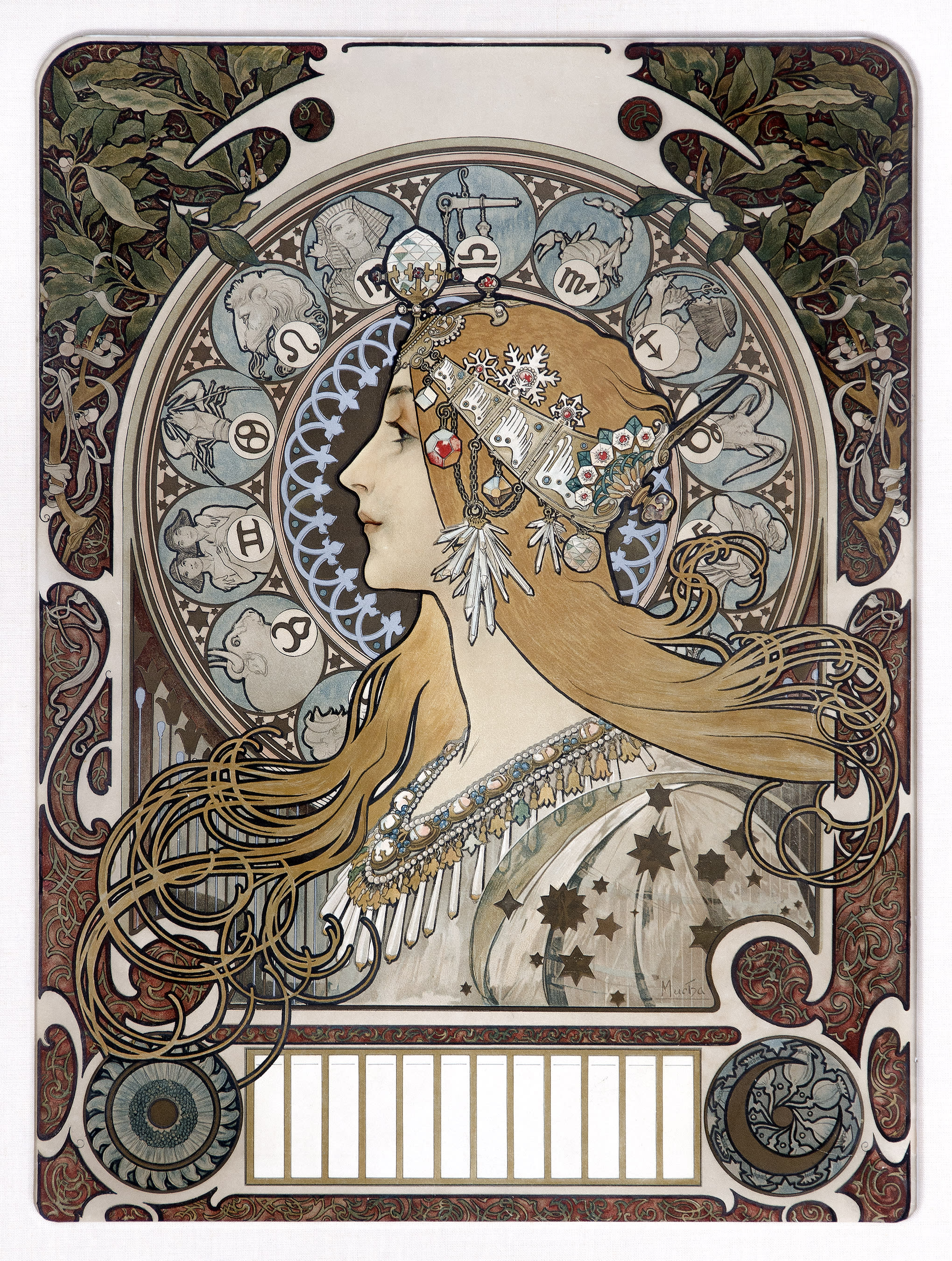 Crown-Alphonse Mucha, Zodiaque, 1896. Color lithograph on paper.