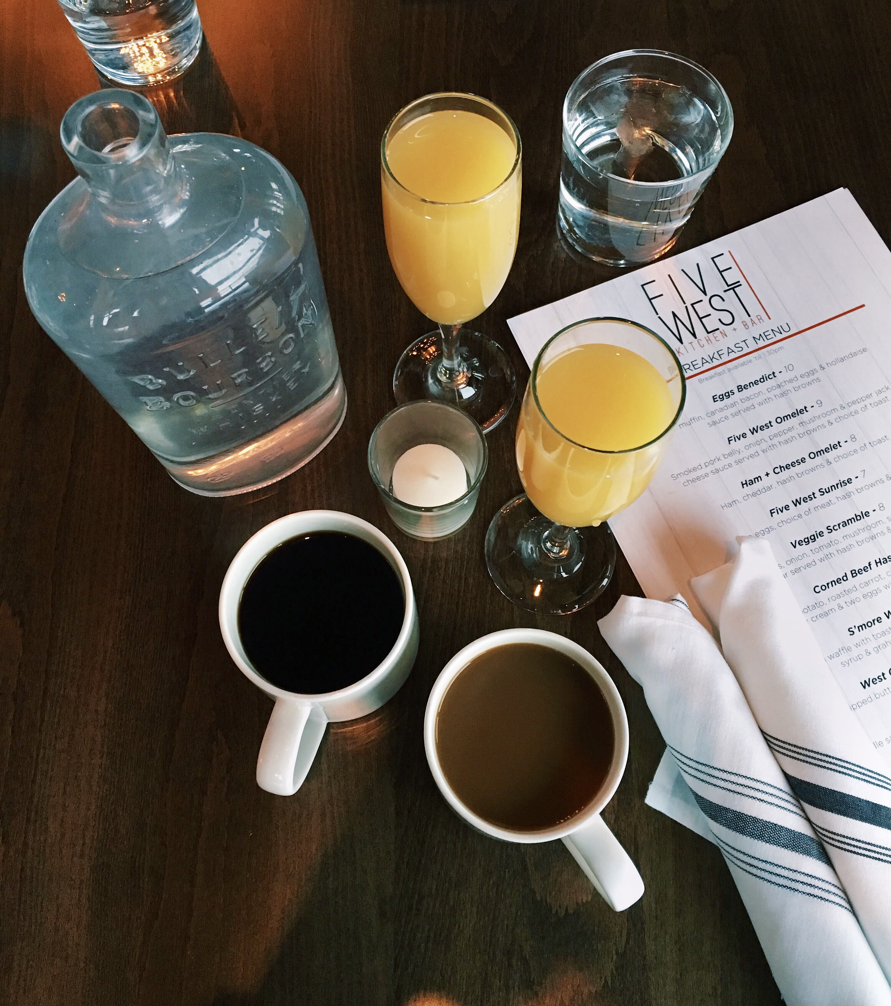 Mimosas Coffee and Brunch Menu at Five + West Kitchen and Bar