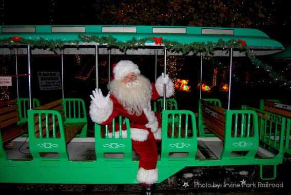 Santa on Train Irvine Park Railroad Trekaroo
