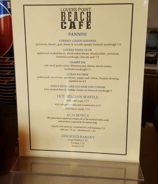 Menu at Lovers Point Beach Cafe