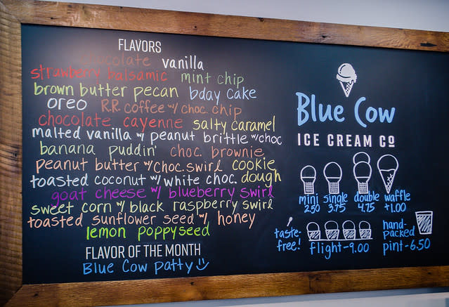 Blue Cow Ice Cream Menu