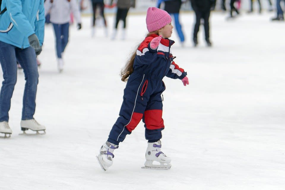 Child, Small, Girlie, Skates, Hat, Skating, The Rink