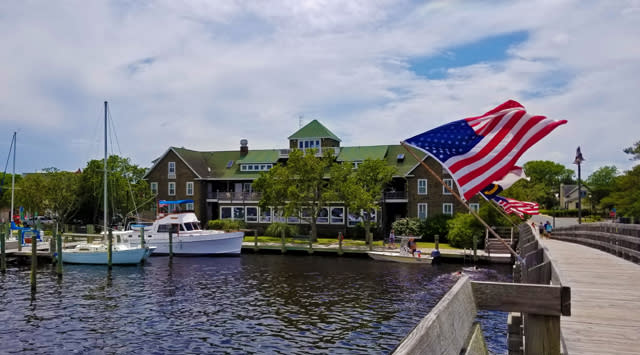 View from the water of Tranquil House Inn in Manteo, NC