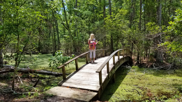 A woman stands on a wooden bridge in Nags Head Woods Preserve