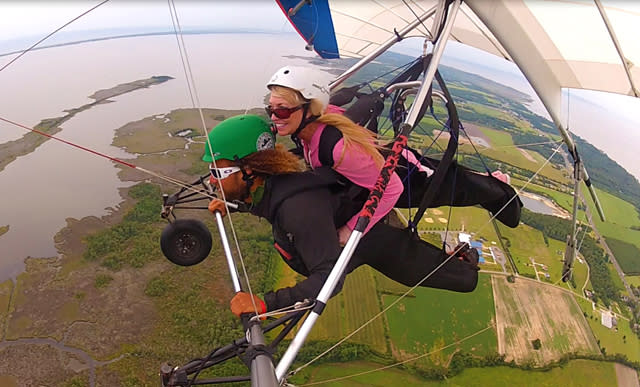Hang gliding high over the coast in the Outer Banks