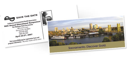 the official Save the Date / Pre-mailer Postcard from Sacramento, California