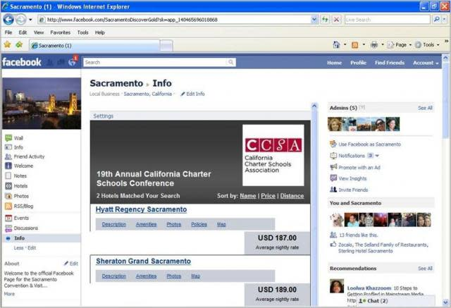 Sacramento Convention Services can coach you to feature Conference Housing Info on your Facebook page