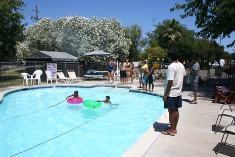 The swimming pool at this family friendly KOA is heated all year long.