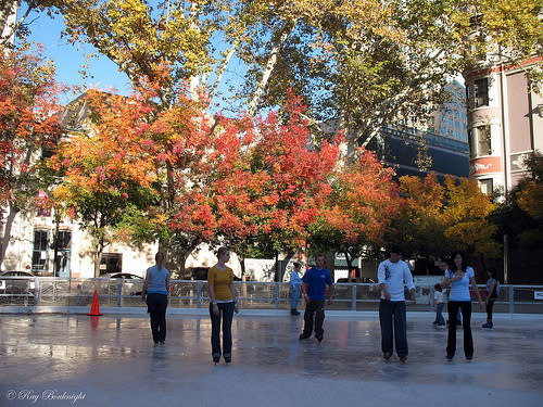 Sacramento's Outdoor Ice Skating Rink at the Downtown Plaza - photo by Ray Bouknight