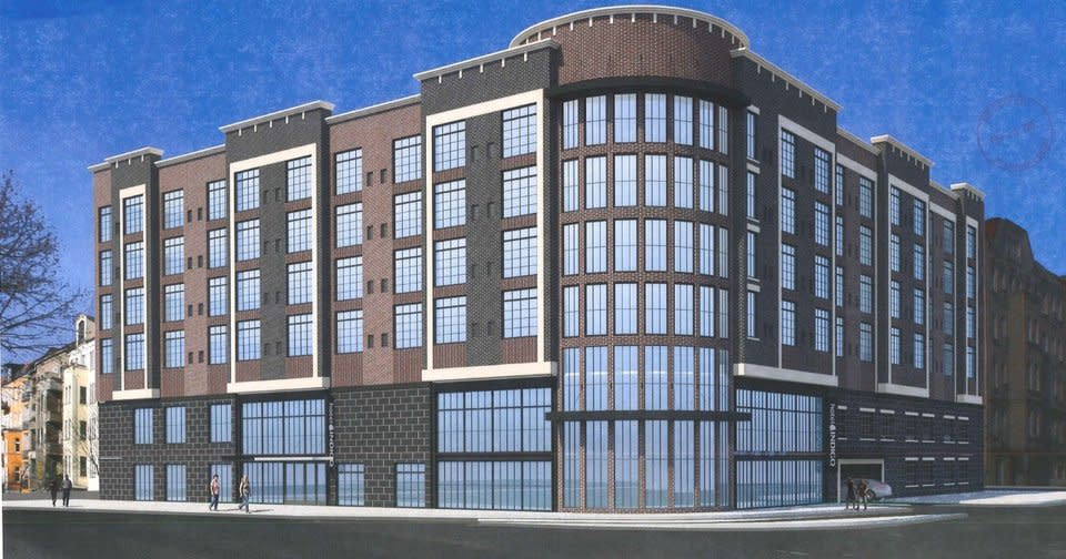 A seven-story Indigo Hotel is being proposed for 330 NE 1 in Deep Deuce. [Parekh Architects]