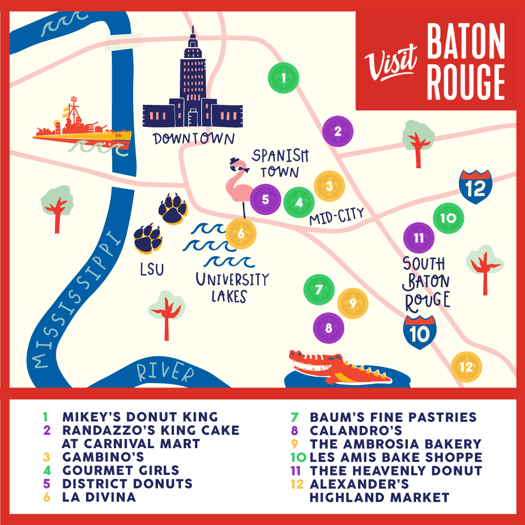 A simplified map of Baton Rouge outlines neighborhoods where King Cake can be found.