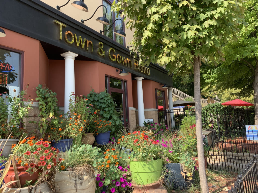 Town & Gown Bistro, located on 119 N River Road, West Lafayette, IN.