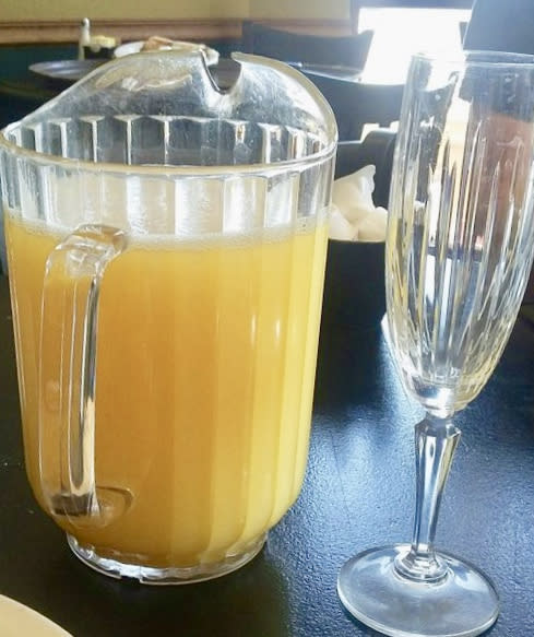 A mimosa pitcher served at Town & Gown.