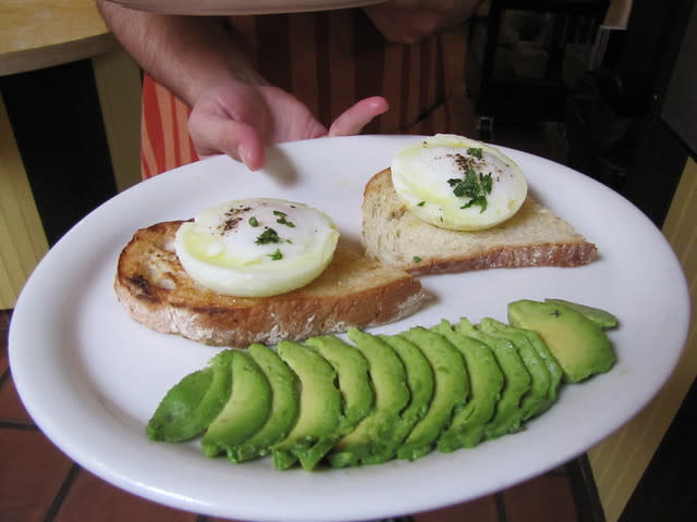 Poached Eggs Over Toast at Carmel Belle