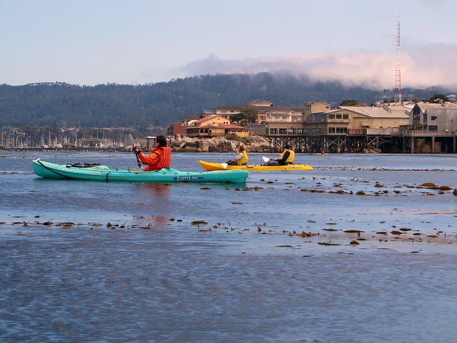 Kayakers and Cannery Row in the background