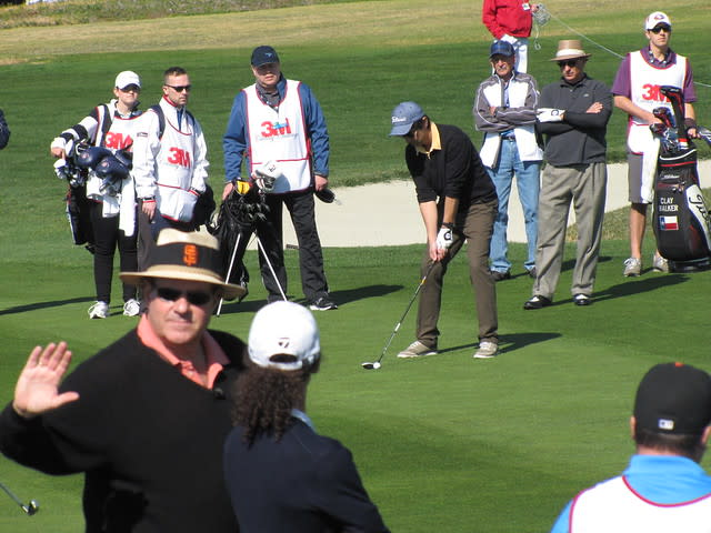 Ray Romano tees off at the 3M Celebrity Challenge during the AT&T Pebble Beach National Pro-Am