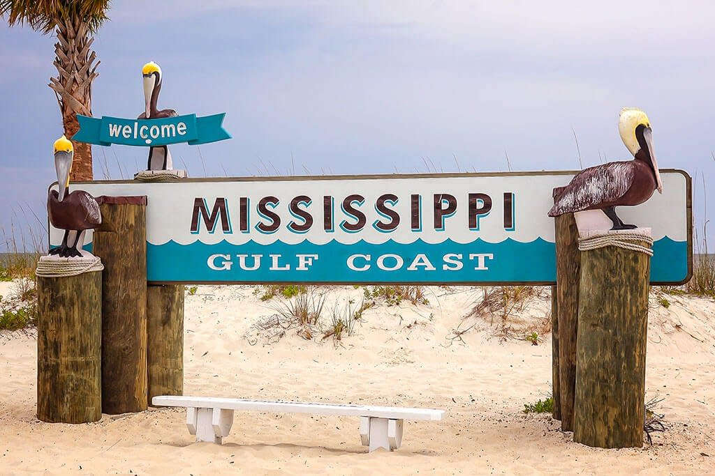 "A sign reading ""Mississippi Gulf Coast"""