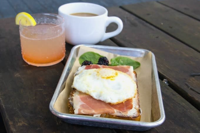 Prosciutto Toast with egg at the Mockingbird Cafe