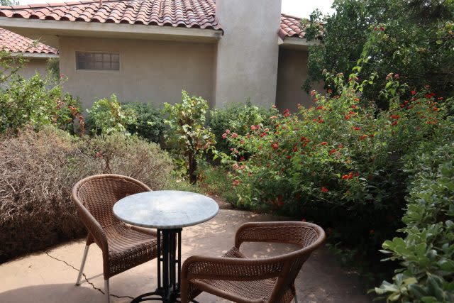 Private patio outside a villa at South Coast Winery, Resort and Spa in Temecula, California