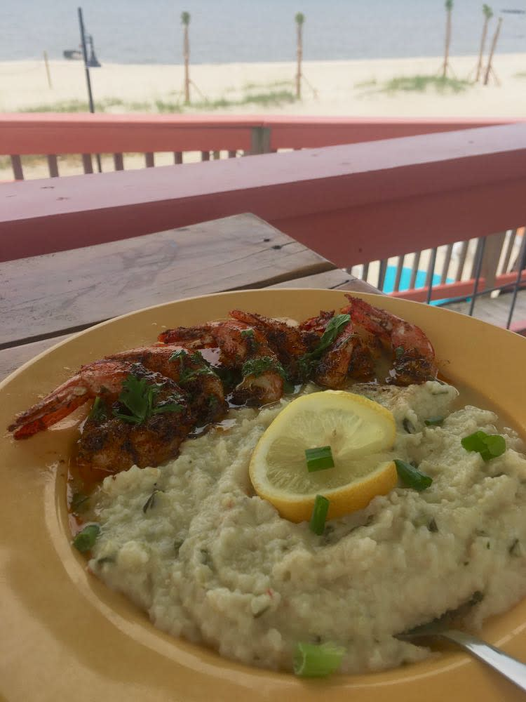 shrimp and grits at Lucy's Retired Surfers Bar in Biloxi MS
