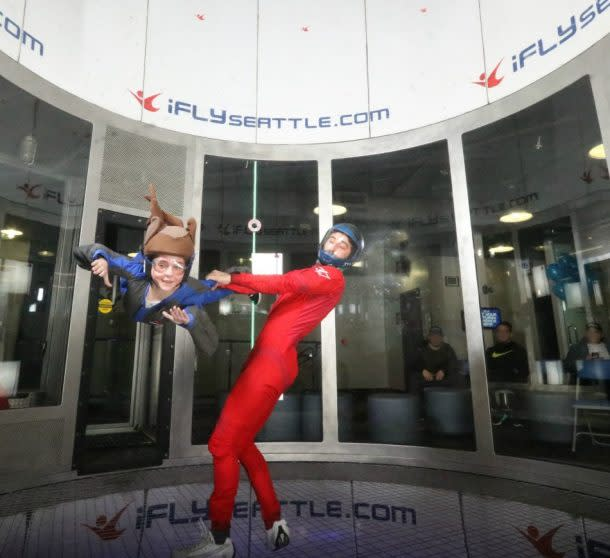 Instructor and child at iFly indoor skydiving in Tukwila