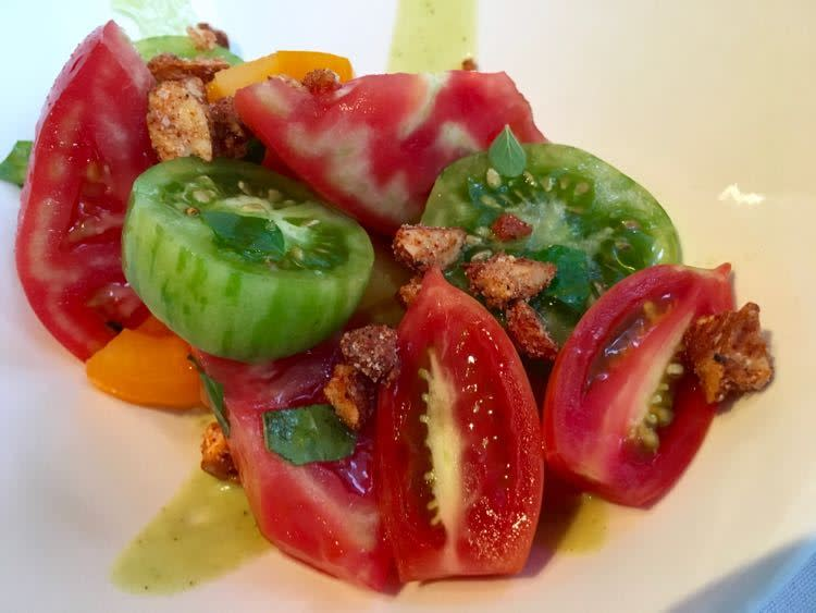 fresh local heirloom tomatoes at Vestige in Ocean Springs, Mississippi