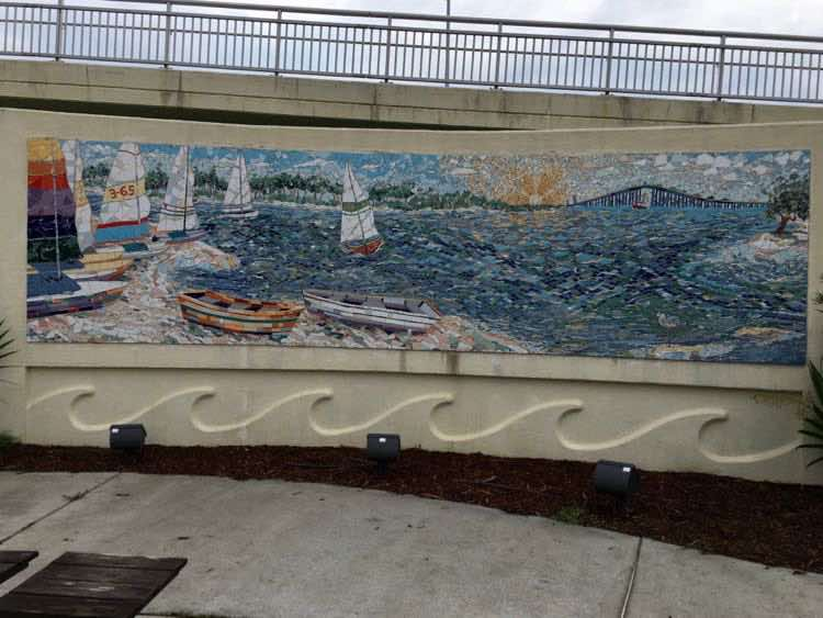 Biloxi Bay Bridge mosaic art by Elizabeth Veglia