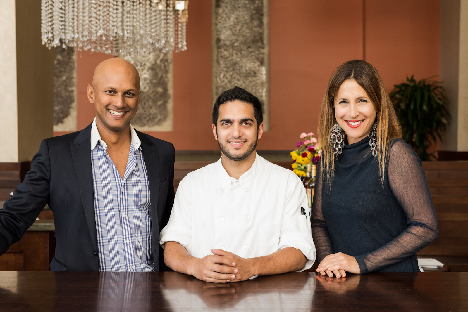 Anjan Mitra, Arun Gupta and Emily Mitra in their Oakland, CA restaurant, Dosa by Dosa