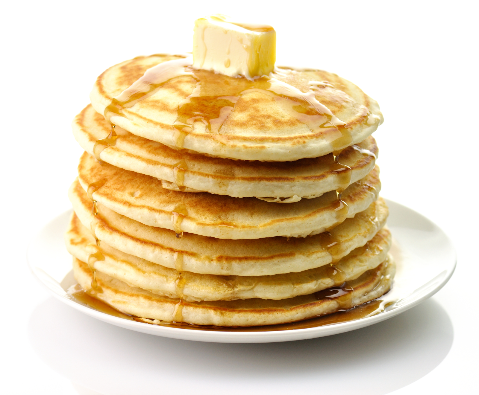 Stack Of Pancakes With Syrup And Butter On White Plate