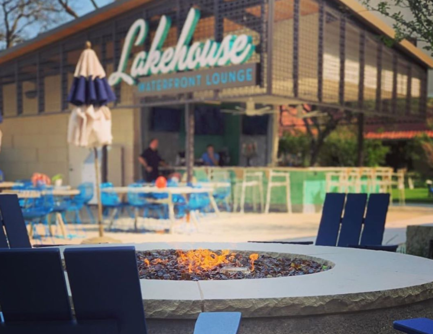 The Lakehouse patio features fire pits to help guests to keep warm.