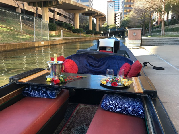 A gondola prepped for a romantic ride in Irving, TX