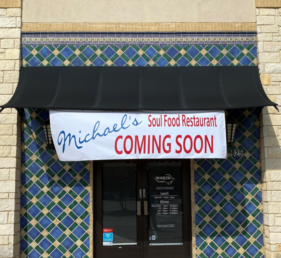 Coming Soon Sign From Michael's Soul Food Restaurant In Irving, TX