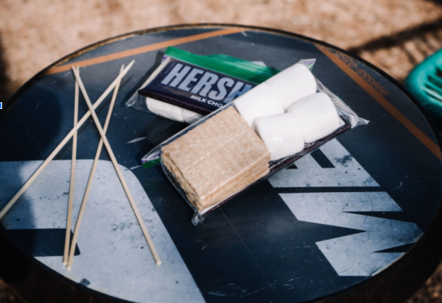 Chocolate, marshmallows and graham crackers are set out in preparation for making s'mores at Texican Court.