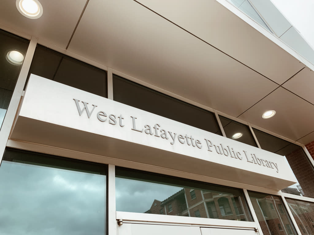 The West Lafayette Public Library sign.