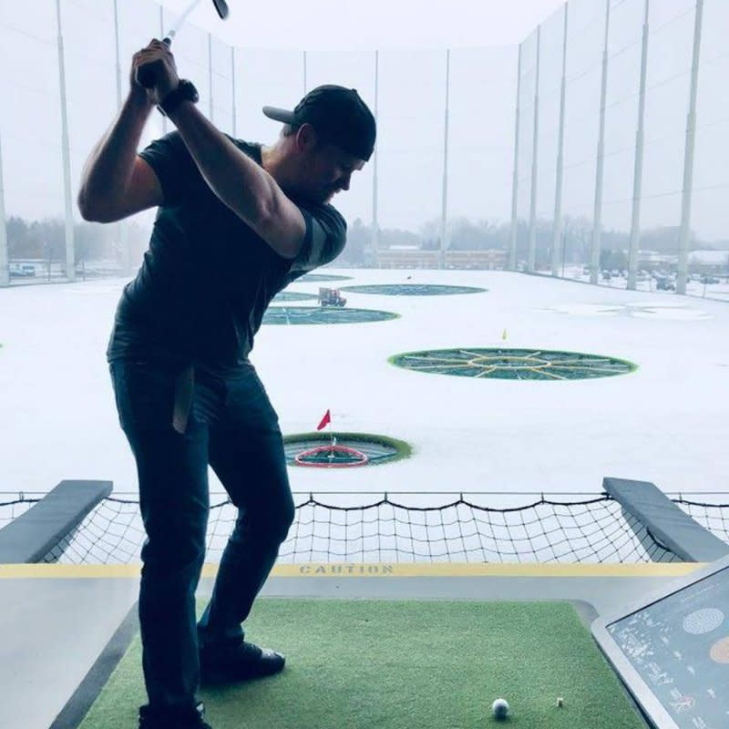 Playing golf in winter at Top Golf in Brooklyn Center, MN