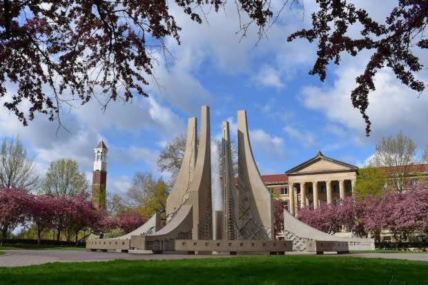 Photo of The Engineering Fountain, Hovde Hall, and Bell Tower in spring
