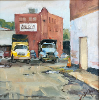 Trucks in Cumberland, Maryland, an oil painting by David Diaz