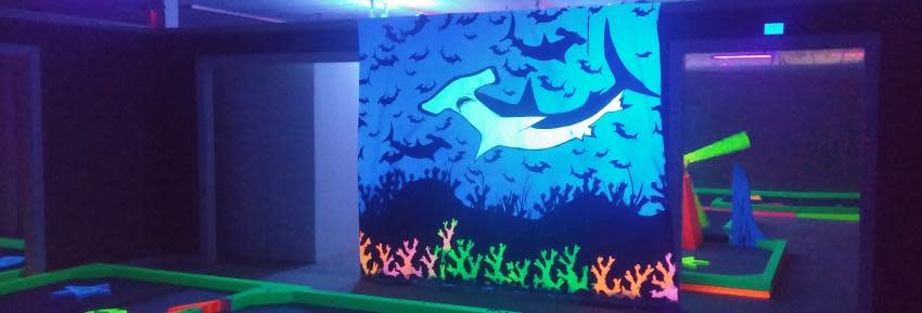 A photo of a hammerhead shark lights up in the dark inside Glow Golf at Eastview mall