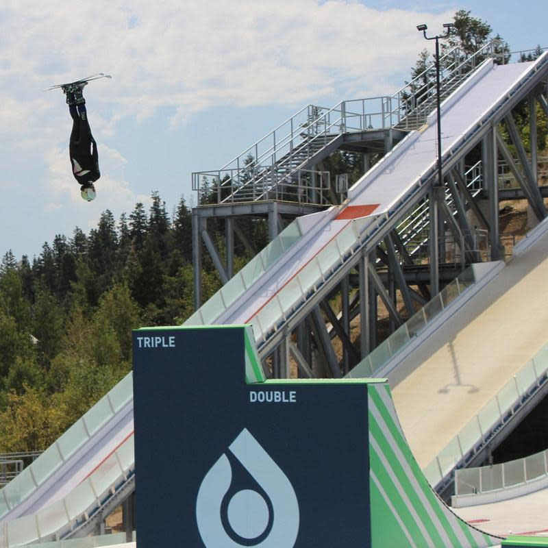 Ski jumper training at the Park City Winter Olympic Facilities