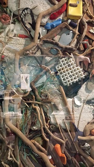 River trash art piece 3