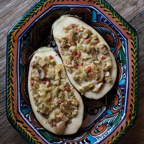 TNM Hatch Chile Stuffed Eggplant