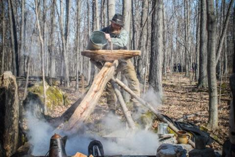 Man makes Maple syrup using 19th century techniques at Genesee Country Village & Museum