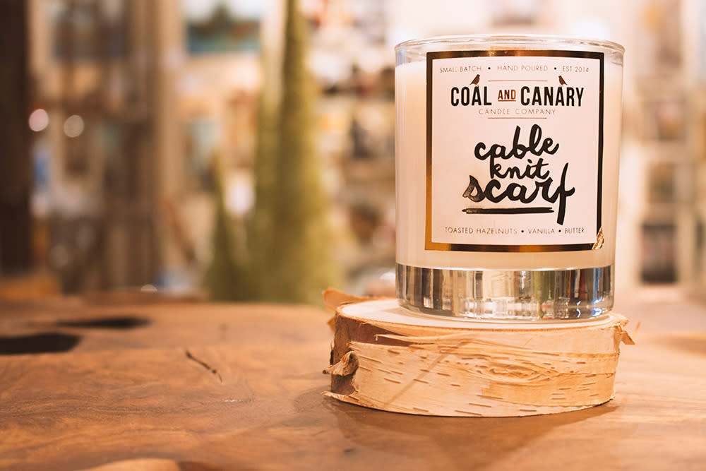 Coal and Canary Cable Knit Scarf Candle from Forks Trading Company